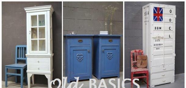 Brocante meubels van Zweedse stijl tot stoer en industrieel! leuk om verschillende stijlen te combineren: stoere containerkast en brocante nachtkastjes met een smalle vitrinekast in Zweedse stijl! Alles van Old-BASICS (webshop en grote winkel van 750m2)
