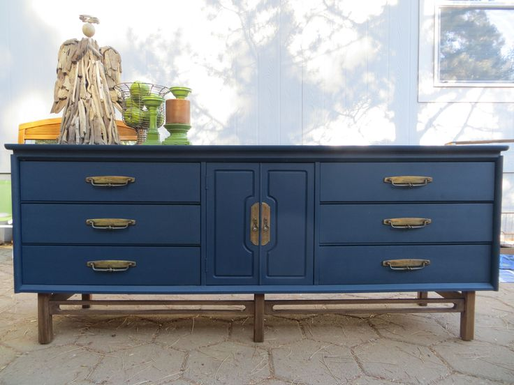 mid century navy blue dresser original hardware flip. Black Bedroom Furniture Sets. Home Design Ideas