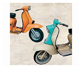 Stampa fine art su canvas con telaio in legno Superscooters II - 70x70x4 cm