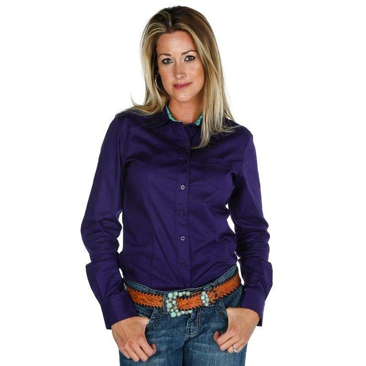 Women's Cinch Purple Button Down Shirt