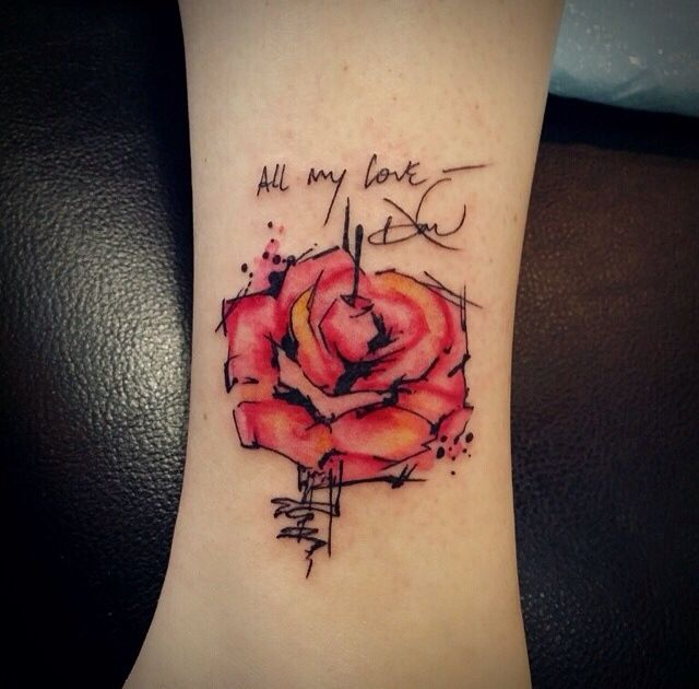 Watercolor rose tattoo with late father's handwriting. Done by Shelly at Forbidden Body Art in Portland, Oregon!