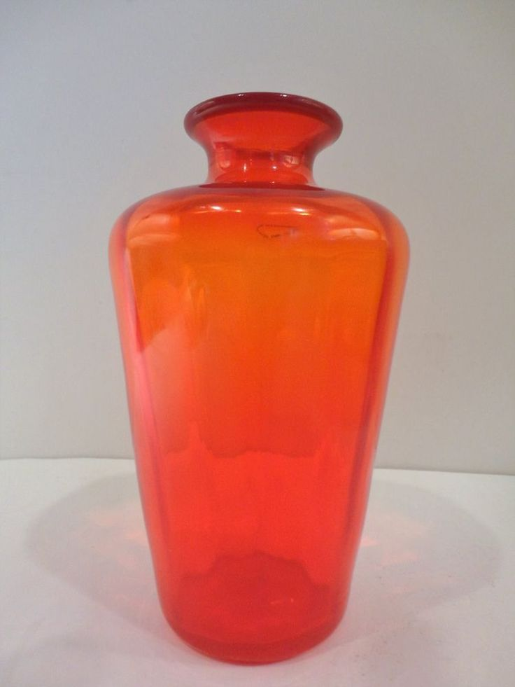 Venini+Murano+signed+labeled+orange-red+vase+w/+red+rim+2002+.+Perfect!+