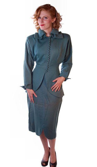 Vintage Ladies Gabardine Suit Lilli Ann Wool Suit Fantastic 1940S NOS Small