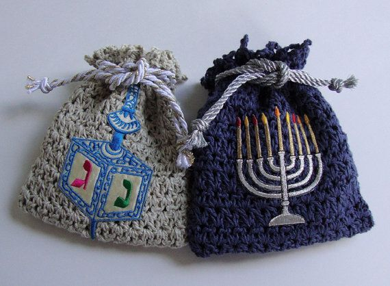 Jewelry Pouch  with Menorah and Dreidel by toivima on Etsy, $36.00