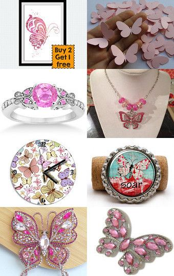 Pink butterfly  by Inna Starovoitova on Etsy--Pinned with TreasuryPin.com