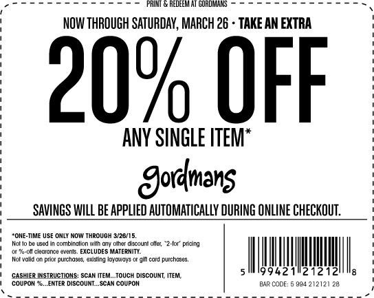 Pinned March 22nd: 20% off a single item at Gordmans ditto online #coupon via The #Coupons App