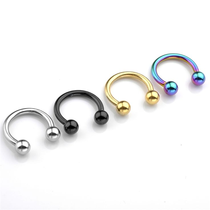 New 2pcs 14G(1.6MM) Captive Beads Ring CBR Ring Hoop Nose Ring Septum Body Rings Studs Jewelry Piercings Unisex Nose Piercing