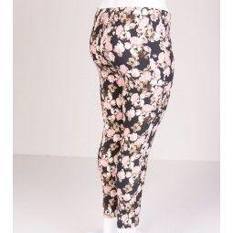 Smarte leggings med strech og elastik i taljen, sort med blomster