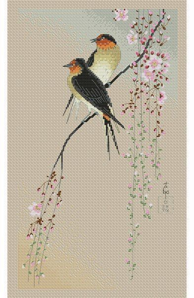 Вышивка крестом влюблённые птицы. Схема вышивки птиц скачать | Лаборатория домашнего хозяйства
