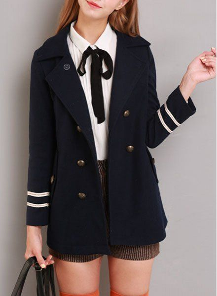 Preppy Style Women's Turn-Down Collar Badge Embroidery Long Sleeve Coat