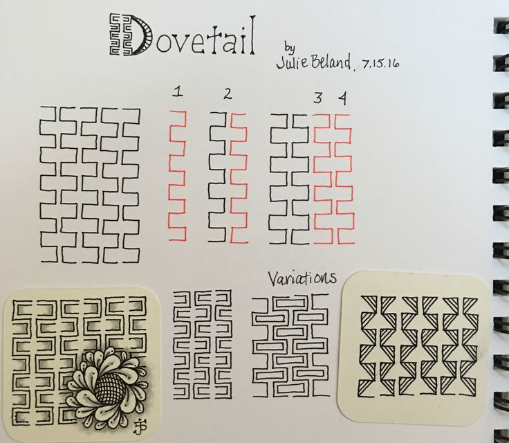 New tangle pattern, Dovetail. Julie Beland. 7/16. Zentangle.