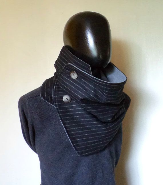 Men scarf. Extra Wide, Black wool 100%. Trendy, modern and cozy