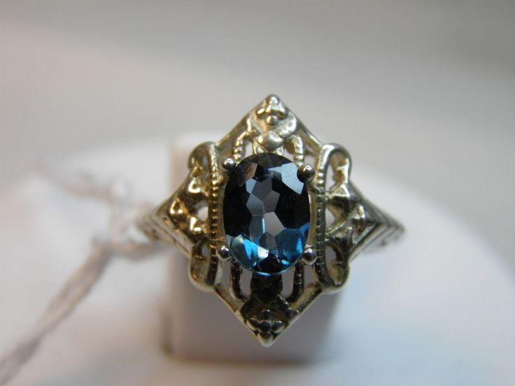 SALE Sterling Silver ring sz 6 London Blue Topaz 1.07ct Art Deco Nouveau design. $32.00