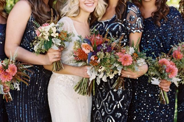 How gorgeous are these sparkly bridesmaid dresses?