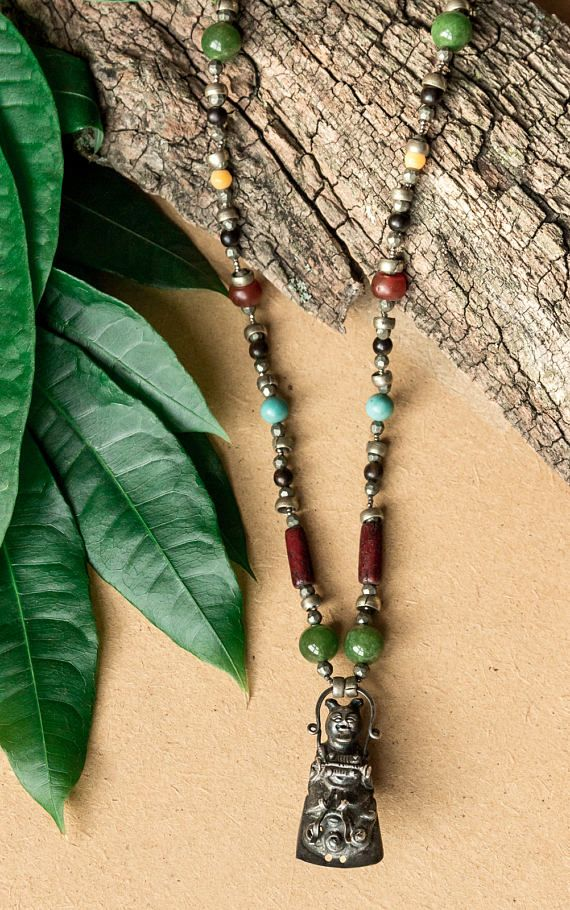 Asian inspired beaded necklace/ bamboo gemstone necklace/
