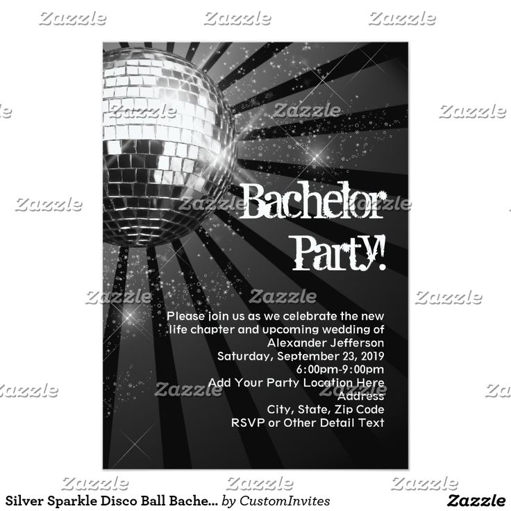 62 best bachelor party invitations 5x7 images on pinterest silver sparkle disco ball bachelor party card stopboris Gallery