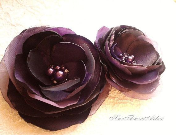 Hey, I found this really awesome Etsy listing at https://www.etsy.com/listing/173929474/2-eggplant-hair-clips-eggplant-headpiece