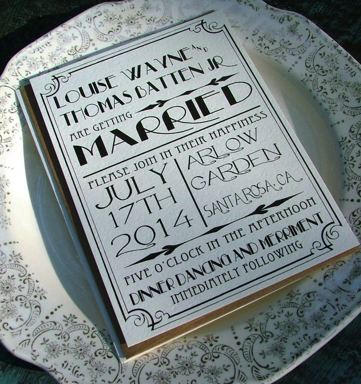 Wedding Invitations: Great Art Deco Hollywood. $100.00, via Etsy.