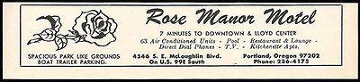 Rose Manor Motel Ad Portland Oregon AC Pool TV Apts 1964 Roadside Ad Travel