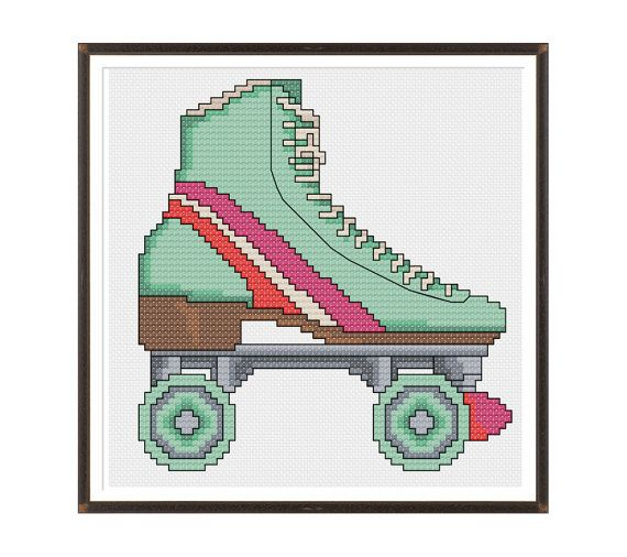 Roller Skate Cross Stitch Pattern Instant by tinymodernist on Etsy, $6.00