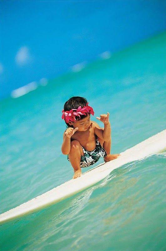 keiki kane surfer in Hawaii.