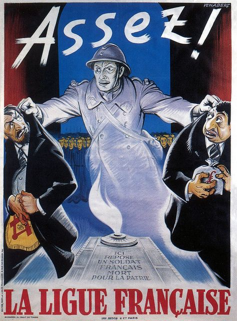 """""""Enough!"""" French WWII propaganda poster against Jews and Freemasonry, 1942."""