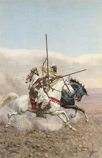 Giulio Rosati (Italian, 1858-1917)  Two Arab horsemen  signed 'Giulio Rosati' (lower right)  watercolour on paper  20 5/8 x 13 9/16 in. (52.5 x 34.5 cm.)