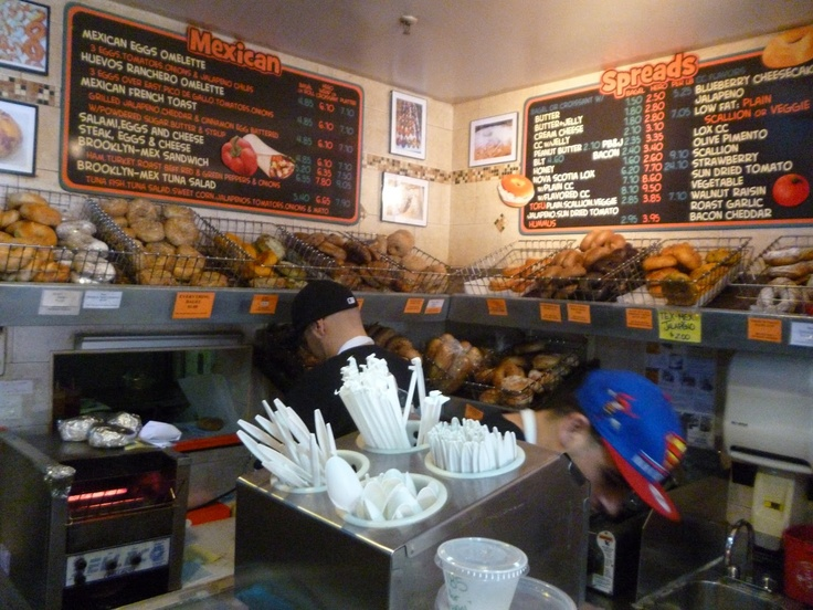 The Bagel Store, Brooklyn.    http://confessionsofahungrywhitegirl.blogspot.com/2013/05/happiness-galore-bagel-store.html