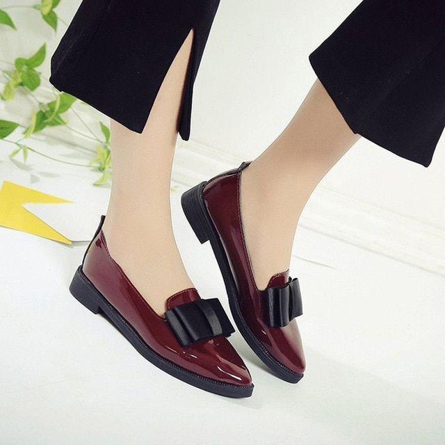 Big Size Frauen Oxford Schuhe Schwarz Loafer Spitzschuh Slip On Flache Schuhe Fr…
