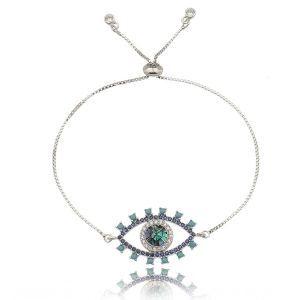 795cc48edd3ae Pulseira Olho Grego Mosaico em Madrepérola e Zircônias Cristal e Turquesa  Semijoia Luxo Ródio Branco