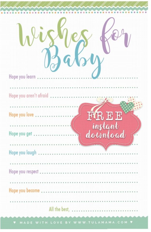 Free Wishes For Baby Printable Wishes For Baby Cards Wishes For Baby Baby Shower Advice Cards