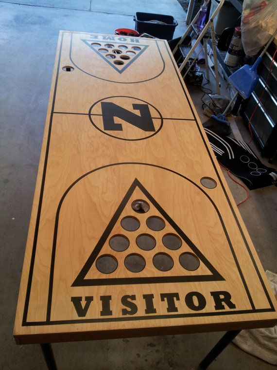 Beer pong table custom diy basketball court decal by for Homemade basketball court