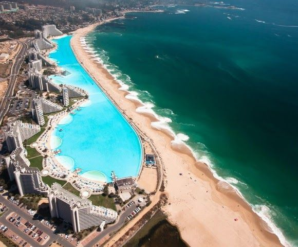 San Alfonso del Mar Beach, Chile - This beach is located between the largest artificial pool and the largest ocean on the planet Earth. San Alfonso del Mar Beach is an integral part of the luxurious resort of the same name. - http://www.theworldgeography.com/2013/08/strange-beaches.html
