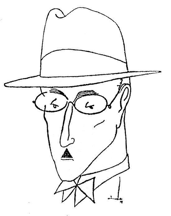 O escritor Fernando Pessoa, cuja biografia brasileira revela novos heterônimos, em caricatura feita por Almada Negreiros