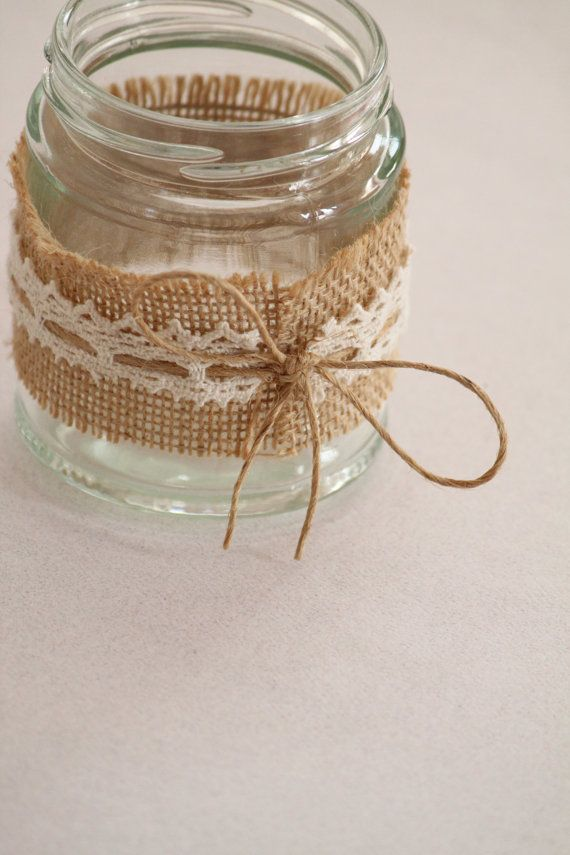 Hessian & Lace Glass Jars Tealight Holders These are like the ones I did in the summer :)