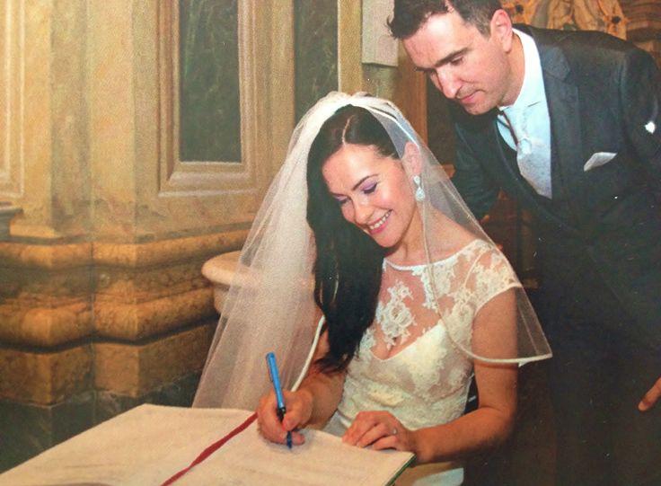 Real Bride Kim wears our Savoy Earrings http://goo.gl/FepKVt