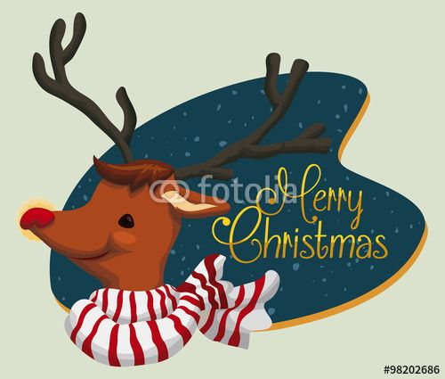 Cute Santa's Deer with Merry Christmas Sign, Vector Illustration