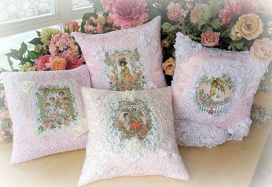 Shabby Chic Deer Pillow : Set of 4 Romantic Victorian Crystal Roses Pillows http://roses-and-teacups.com Romantic Shabby ...