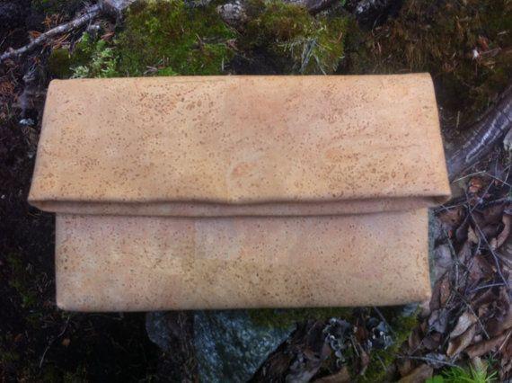Cork Leather Fold-Over Clutch, purse, tab, beige, cork skin, Vegan, eco-style