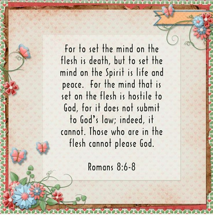 """For to be carnally minded is death; but to be spiritually minded is life and peace.  Because the carnal mind is enmity against God: for it is not subject to the law of God, neither indeed can be.  So then they that are in the flesh cannot please God."" Romans 8:6‭-‬8 (KJV)"
