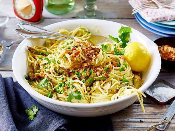 Fruhlings Spaghetti Mit Grunem Spargel Rezept Lecker In 2021 Rezepte Einfache Gerichte Nudelgerichte
