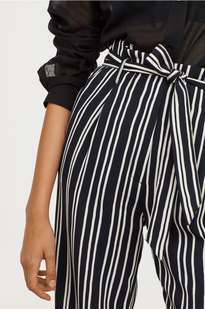702602e32b Paper-bag Pants - Blue-black white striped - Ladies
