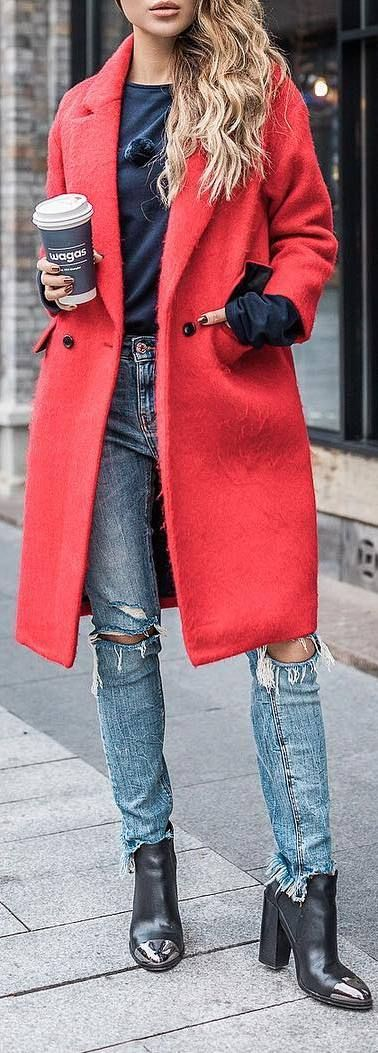 spring outfit: red coat + jeans