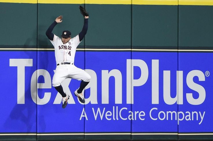 October 20, 2017:  Yankees face elimination again, this time in ALCS Game 7.  Houston Astros' George Springer catches a long fly ball hit by New York Yankees' Todd Frazier during the seventh inning of Game 6 of baseball's American League Championship Series Friday, Oct. 20, 2017, in Houston. (AP Photo/Eric Christian Smith)