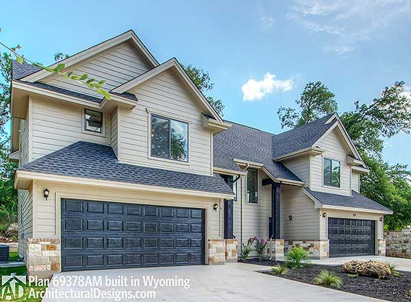 Duplex House Plan 69378AM built in Wyoming.  Where do YOU want to build? We're #readywhenyouare  #duplex #duplexhouseplan