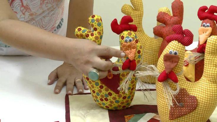 Mulher.com 03/03/2014 - Porta peso de galinha (How to make a stuffed Chicken in Spanish)