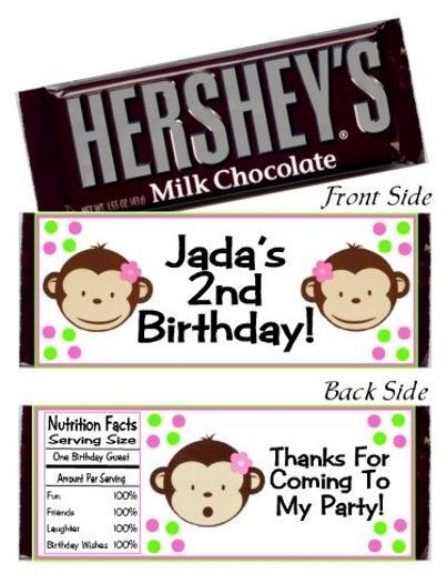 12 Girl Mod Monkey Pink Birthday Party Candy Hershey Bar Wrappers Favors