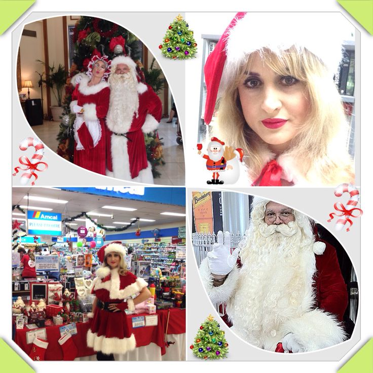 Festive collage featuring Mr & Mrs Claus, and Miss Claus