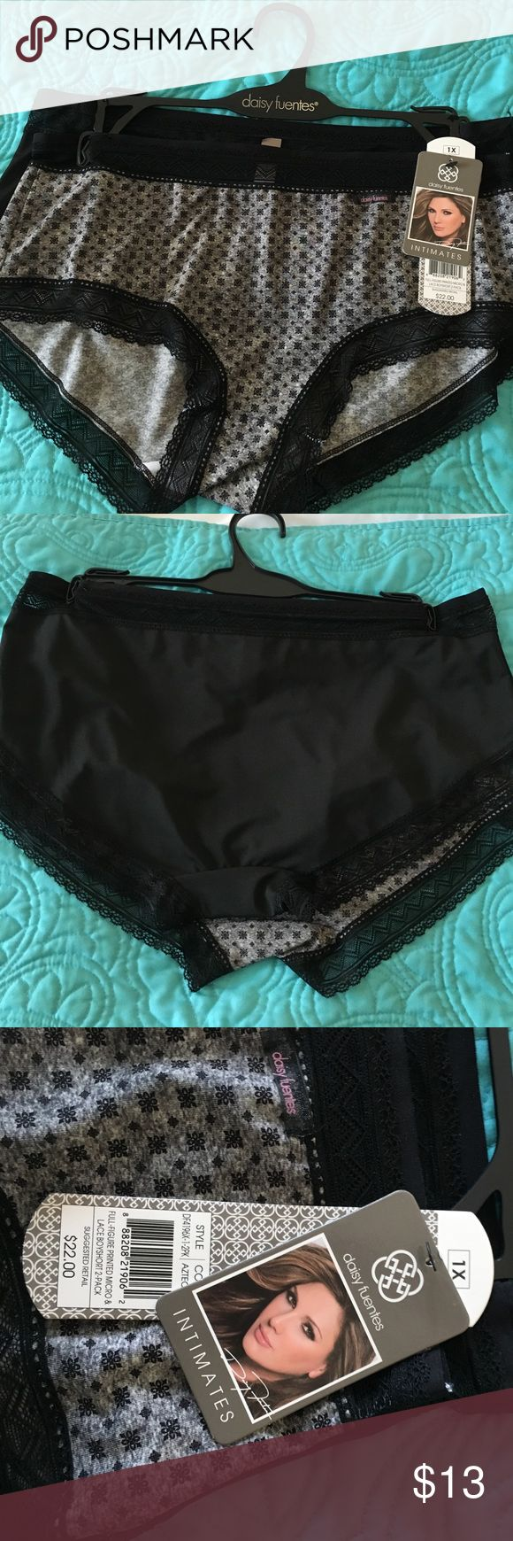 NWT DAISY FUENTES 1X lace trim panties. New! NWT DAISY FUENTES 1X lace trim panties. Gray and black print and solid black. Silky poly spandex. Retail $22 Daisy Fuentes Intimates & Sleepwear Panties