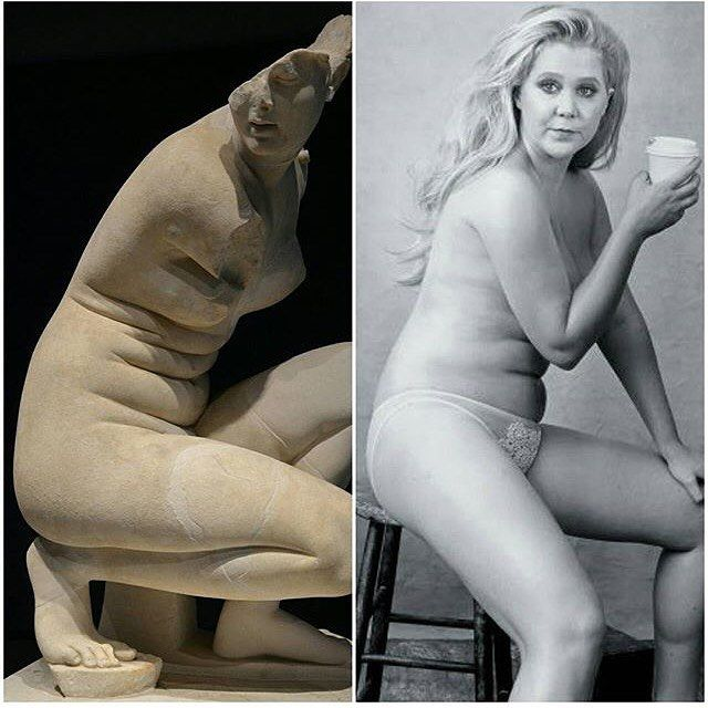 """Repost from @whitneyzombie : """"On the left is a sculpture of the goddess Aphrodite. On the right is @amyschumer. What a wonderful resemblance between these two beautiful women. So many young girls and women are shamed by the media and fashion industry for not having a flat stomach and not being size zero. But look, the goddess of beauty is portrayed here with stomach rolls and doesn't have a perfectly smooth, toned body. I want to remind everyone that they do not have to be a Victoria's…"""